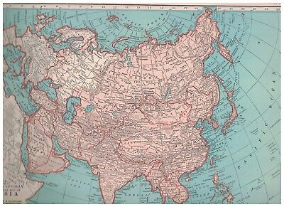 1942 Map Of Asia - Map of Eastern Europe On The Reverse