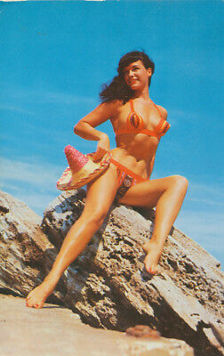 Color Photo On Postcard Of Bettie Page On Beach In Unusual Bikini