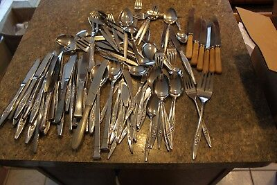 Mixed Lot Of 80 Pcs Of Sliverplate Flatware For Crafts Or Use - Loth