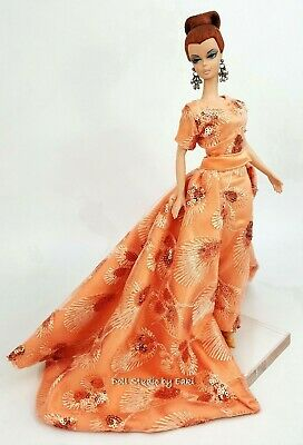 Peach Evening Dress Outfit Gown Fits Silkstone Barbie Fashion Royalty Model FR