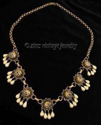 Vintage ART DECO era Brass filigree ROSE flower beige PEARL Fringe drop NECKLACE