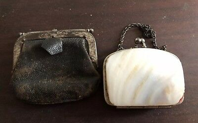 2 X victorian Sovereign Coin Purses Mother Of Pearl Shell & Leather