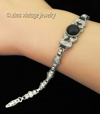 Vintage old ART DECO era clear rhinestone Paste BLACK glass Silver link BRACELET