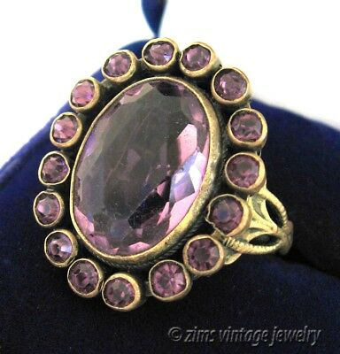 Vintage old ART DECO era Uncas signed PURPLE Crystal brass Flower cocktail RING