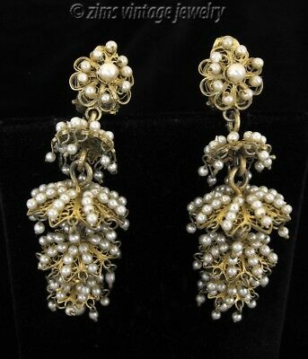 Vintage ART DECO era Gold filigree seed PEARL floral Chandelier dangle EARRINGS