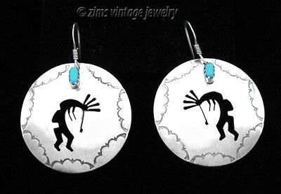 NAVAJO turquoise Sterling silver stamped KOKOPELLI Disc wire dangle EARRINGS