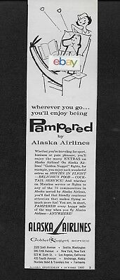 Alaska Airlines 1960 Pampered Alaska With Inflight Movies Golden Nugget Dc-6 Ad