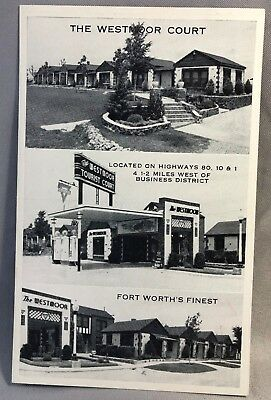 FORT WORTH Texas WESTMOOR Tourist COURT Motel Hwy 80 CONOCO GAS STATION Postcard