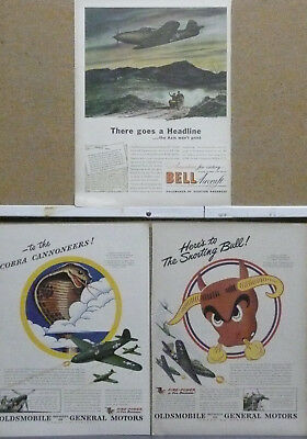 P-39 Airacobra Fighter Plane Ad Lot (3) WW II Print Ads