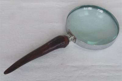 A Hilkinson Large Sterling Silver Banded & Faux Horn Magnifying Glass Date 1914