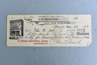 Glasgow KY 1908 Bank Check from Trigg National Bank Collectible Paper Ephemera