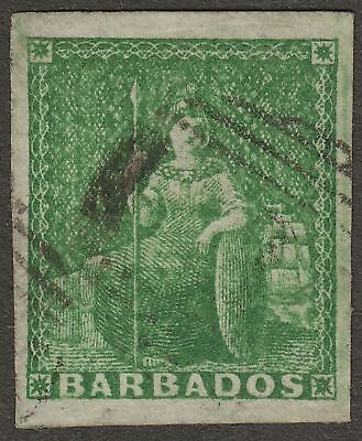 Barbados 1857 QV Britannia ½d Yellow-Green Imperf Used SG7 cat £110 four margins