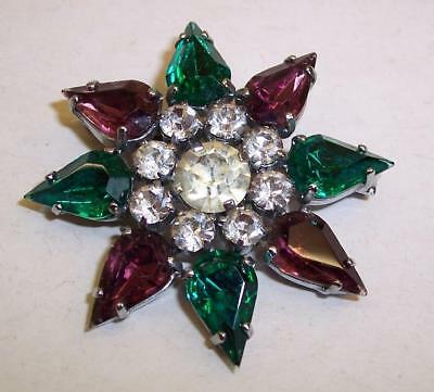 Vintage FLOWER Costume Brooch SUFFRAGETTE Colours GREEN/PURPLE