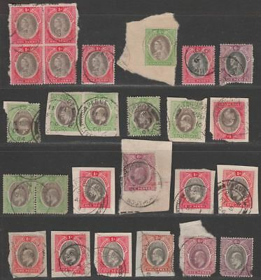 Southern Nigeria 1901-11 QV-KEVII Selection to 6d Used Mostly on Pieces