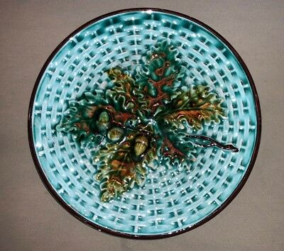 Antique Majolica Turquoise W/ Acorns & Leaves Basket Weave Plate 6.5""