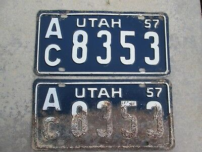 Original PAIR Utah 1957 license plates