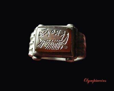 ** AMAZING ** Ancient ROMAN Silver LEGIONARY ring  ** GALLEY & ROMA **