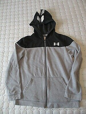 Boys UNDER ARMOUR Gray Zip Front Jacket Hoodie Sz Youth XL