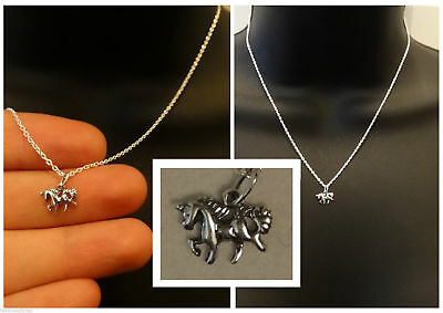 NEW 925 Sterling Silver Small Unicorn pendant Necklace 16L