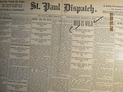 Memphis History Newspaper 1890 WILD MOB LYNCHED 3 NEGROES LYNCHERS WORE MASKS
