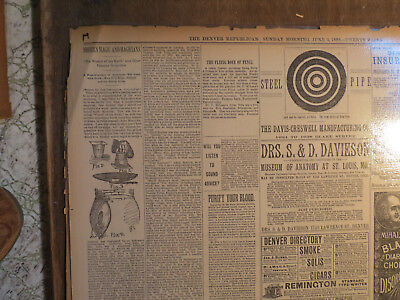Magic Newspaper 1888 MODERN MAGIC & MAGICIANS WIZARD FAMOUS CONJURERS FISH TRICK