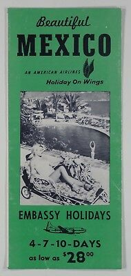 1959 BEAUTIFUL MEXICO American Airlines TOUR BROCHURE travel agent advertising