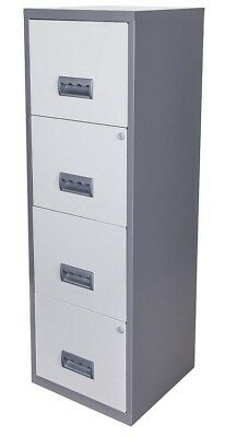 NEW Pierre Henry A4 4 Drawer Maxi Filing Cabinet - (Silver & White)