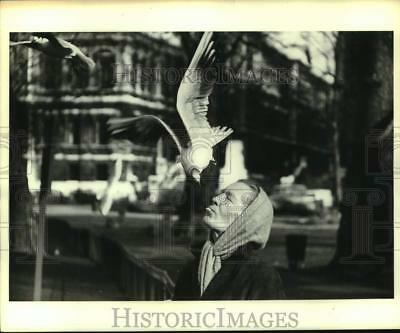 Press Photo Seagull dives for Mrs. Larkman's lips as she closes her eyes in city