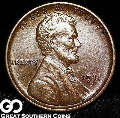 1911-S Lincoln Cent Wheat Penny, Tougher Date, Super Nice