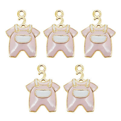 10PCS Gold Enamel Alloy Pink Cute Baby Clothes Charms Pendants For Jewelry Gifts
