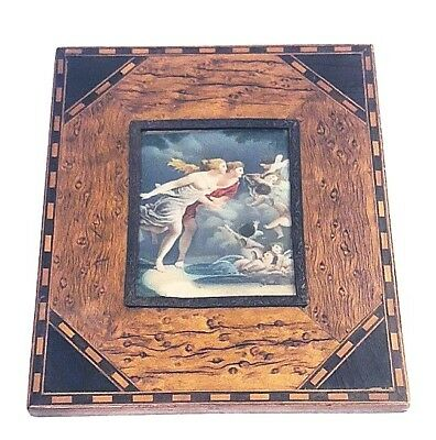 19th c. Bird's Eye Maple, Marquetry Frame, Orig. Painting on Celluloid, Cherubs+
