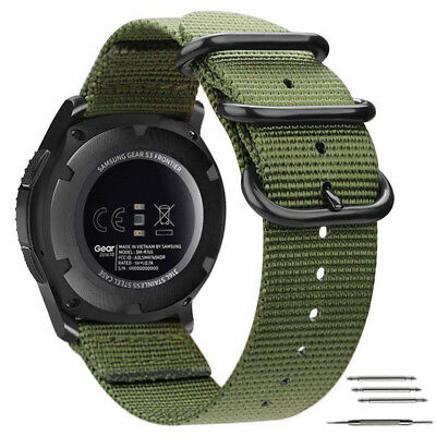 For Samsung Gear S3 Frontier Classic Band 22mm Nylon Watch Strap Military Green