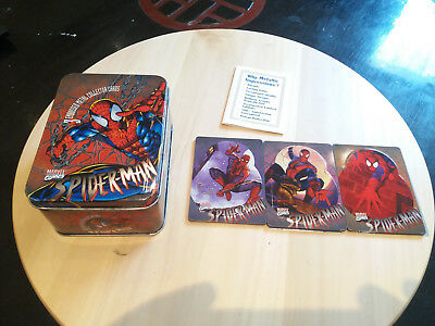Box Embossed Metal Collector Card Spider-Man + set of 3 Trading Cards