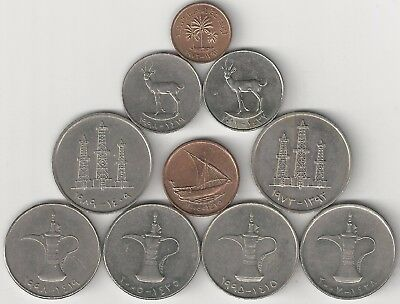 10 DIFFERENT COINS from the UNITED ARAB EMIRATES (5 TYPES/4 DENOMINATIONS)