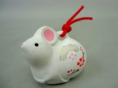 DR24 Japanese Dorei Clay Bell Vintage Hand painted Rabbit Lucky Charm Ceramic