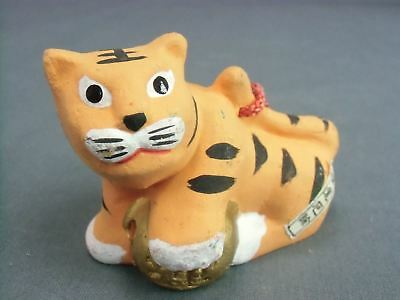 DR90 Japanese Dorei Clay Bell Ceramic Hand painted Tiger Lucky Charm Pottery Vtg