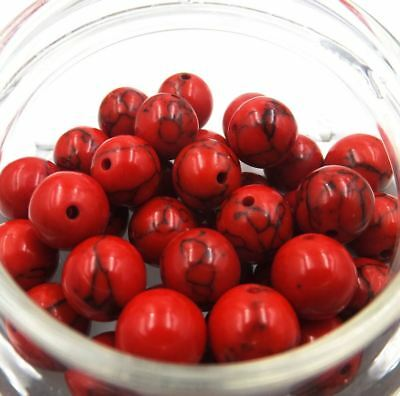 Red Turquoise Natural Gemstone wholesale Round Spacer Loose Beads 6-12mm B