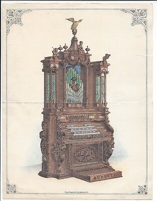 Centennial Exhibition Color Advertising Flyer, The Burdett Organ, 1876