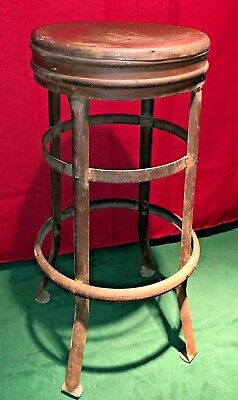 """Vintage Industrial Metal Stool Machine Shop Chair 28"""" Tall Rustic Patina STRONG!"""