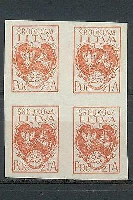Russia Central Lithuania Litwa 1920 Sc# 1a imperf Arms block 4 MNH