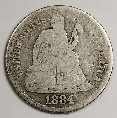 1884-s Seated Liberty Dime.  Circulated.  129327