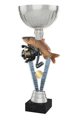 FISHING ANGLING METAL ACRYLIC TROPHY CUP SILVER OR GOLD *FREE ENGRAVING* 330mm