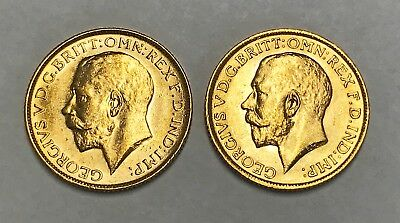 Two George V Full Sovereign Gold Coins - 1914 And 1915