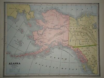 Vintage 1884 ALASKA TERRITORY MAP ~ Old Antique Original Atlas Map 80918
