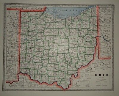 Vintage 1884 OHIO MAP ~ Old Antique Original Atlas Map 80918