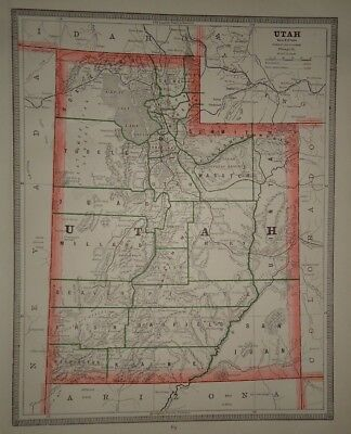 Vintage 1884 UTAH TERRITORY MAP ~ Old Antique Original Atlas Map 80918