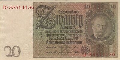 1929 20 Reichsmark Nazi Germany Currency Unc Banknote Note Money Bill Cash Wwii