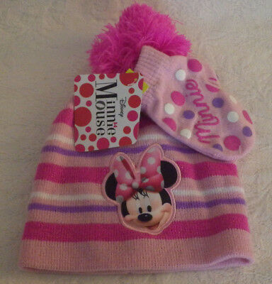 "Minnie Mouse Toddler Girls Hat & Mittens Set NWT New Pink Stripe 6"" Side to Side"