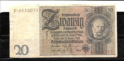 GERMANY GERMAN #181a 1929 GOOD USED 20 REICHSMARK OLD BANKNOTE PAPER MONEY NOTE