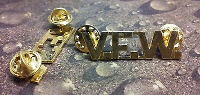 VFW lapel pin pre-owned double butterfly clutch back